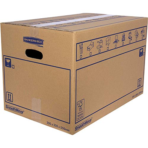 BANKERS BOX 10 SmoothMove Heavy Duty Double Wall Cardboard Moving and Storage Boxes with Handles, 67 Litre, 35 x 35 x 55 cm, 10 Pack