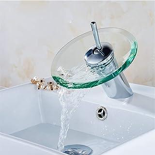 Yonntech glazen kraan, moderne mixer wastafel kranen waterval keuken badkamer (warm en koud water alternatief)