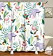 LIVILAN Cute Elephant Shower Curtain for Kids Colorful Cartoon Animals in Woodland Polyester Bathroom Curtain Machine Washable 72inch Kids Shower Curtains with 12 Hooks