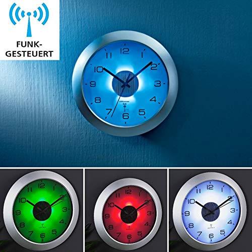 Funkuhr Funk- Wanduhr mit Beleuchtung DCF Signal Funkuhr mit Lichtsensor Uhr Dämmerungssensor Funkwanduhr Funk Wanduhr Bürouhr für Innen Außen Ziffernbeleuchtung Funkuhrwerk Große Ziffern Blaues Licht Uhr Nachtleuchtend