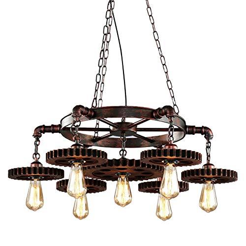 CARYS Pendelleuchte Holz Vintage Hängeleuchte Esstisch Kronleuchter Höhenverstellbar Hängelampe Retro E27 Leuchtmittel Esszimmer Küche Wohnzimmer Schlafzimmer