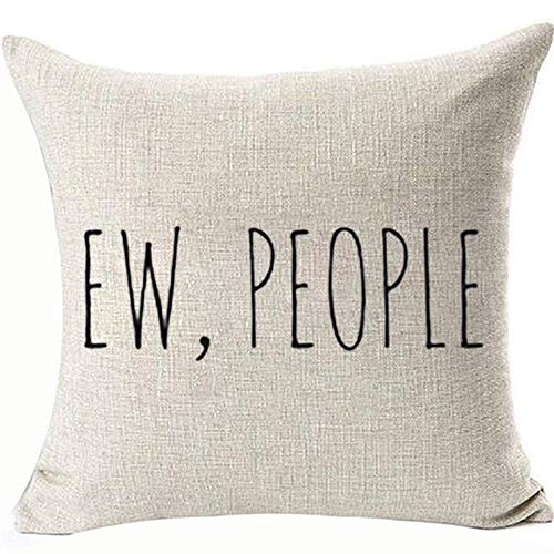 FaceYee Ew People Pillows Covers Throw Pillowcases,Hipster Funny Sarcasm Introvert Decoratives Square Cushion Covers Two Side Linen Invisible Color:4