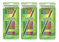 Dixon Ticonderoga 木製鉛筆 #2 ブラックリード カラーバレル詰め合わせ モデル13932 [10個入り] (3個入り)
