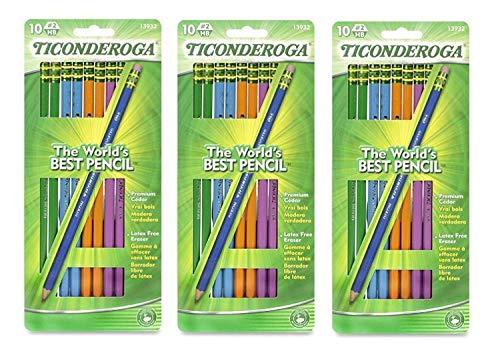 Dixon Ticonderoga Wood-Cased #2 Pencils, Black Lead, Assorted Color Barrels, model 13932,  [Box of 10]  (3-Pack)