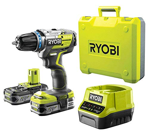 RYOBI R18DDBL-225B 18 V Brushless Akku-Bohrschrauber mit elektronischer Drehmomentregulierung, mit 2x 2,5 Ah Akku & Ladegerät & mit Transportkoffer