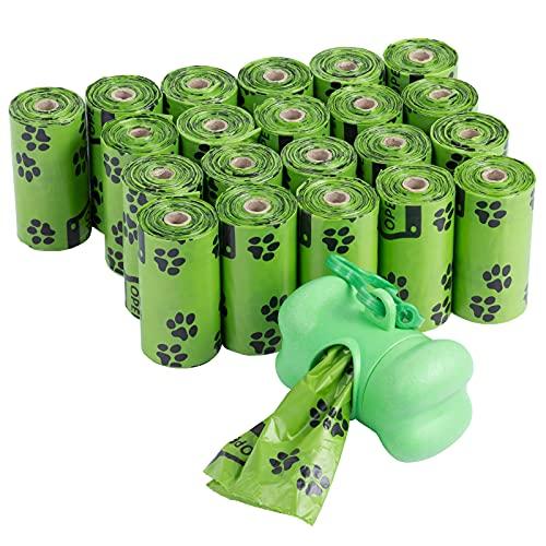 Hundekotbeutel, Lavvio 22 Kotbeutel und 1 Kotbeutelspender, Hundekotbeutel Biologisch Abbaubar, Grüner Kotbeutel für Hunde, es gibt 15-Taschen in einer Rolle, mit leichtem Lavendel-Duft(Grünes Muster)
