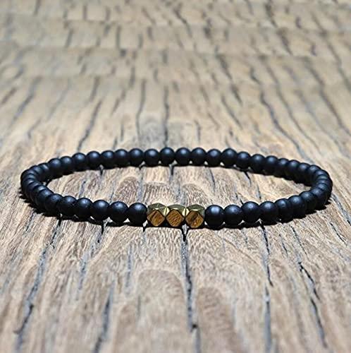 XIAOMAI Pulsera de obsidiana Negra Antigua de 4 mm, Cuentas de oración de Yoga Simples para Brazalete Masculino, joyería para Hombre
