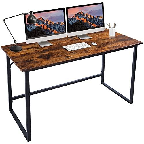 Computertisch, Schreibtisch, Bürotisch, Home Office Tisch, einfacher Arbeitstisch, Industriedesign, vintagebraun-schwarz, 119 x 56,4 x 75,5 cm, Metallstahlrahmen