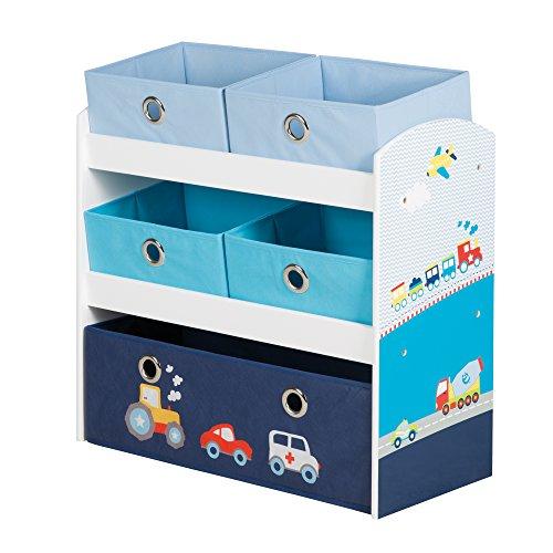 roba Etagère à jouets 'Pilote', jouet et étagère pour garder les choses de l' enfant, avec 5 boîtes en tissu, motif voiture, bleu.