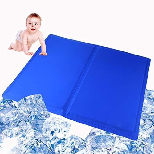 Du Du Kühlmatte Selbstkühlende Gel Pad Mat für Verbesserten Schlaf - Hilft Bei Migräne Kopfschmerzen Menopause und Hitzewallungen Re-Usable Relief Pillow Insert (Blau, 81 x 96 cm)