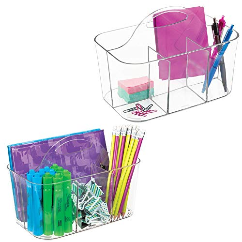 mDesign Small Office Storage Organizer Utility Tote Caddy Holder with Handle for Cabinets, Desks, Workspaces - Holds Desktop Office Supplies, Gel Pens, Pencils, Markers, Staplers - 2 Pack - Clear