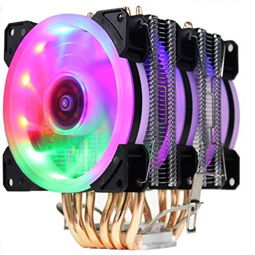 CPU Cooler 6 Tuberías de Calor Dual-Torre Enfriamiento 9cm RGB Fan Ventilador LED Soporte de Ventilador 3 Ventiladores 3Pin CPU Fan para AMD y para Intel (Blade Color : 3 Fan LED 4pin)