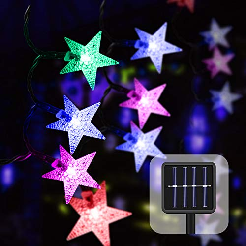 50 LED Guirnaldas Luces Exterior Solar,23ft Impermeable Navidad Cadena de Luces,Estrellas Luces de Hadas Decoración para Jardin Fiesta Casa Bodas (multicolor)