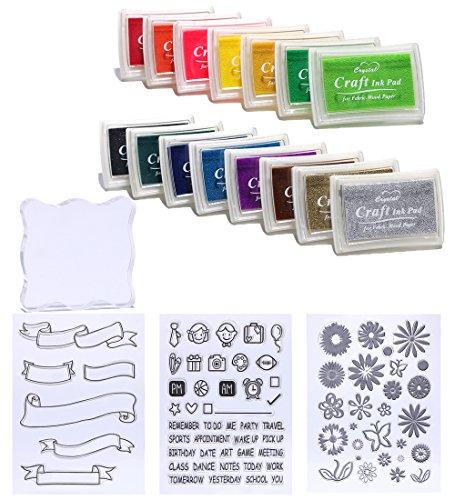 Ccinee - tamponi di inchiostro e timbri in gomma trasparente, gruppo misto, da usare per qualsiasi progetto in gomma, proprietari 23 pz Set 2