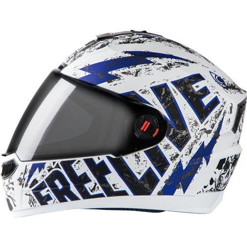 Steelbird SBA-1 Free Live Matt White with Blue with smoke visor,600mm
