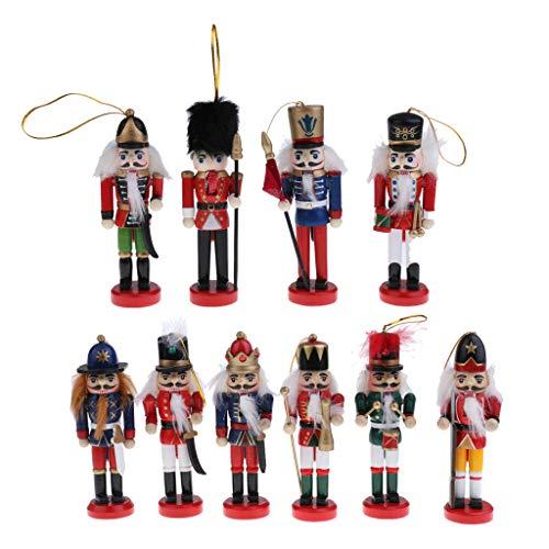 10x Nussknacker Holzfigur Deko Figur Puppe Anhänger für Weihnachtsbaum Wand Fenster Tür usw.
