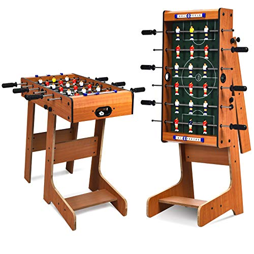 COSTWAY Folding Football Table, Free Standing Foosball Soccer Game with 2 Mini Footballs, Score Keepers, Indoor Recreational Games for Kids, Family
