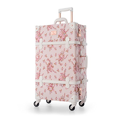UNIWALKER Pink Floral Pu Leather Vintage Carry On Luggage with Wheels (26', Pink floral)