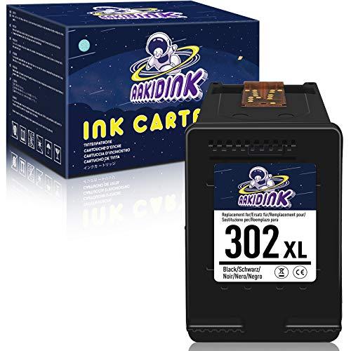 AAKIDINK 302 Negro XL Remanufacturados Cartuchos de tinta Compatibles con HP 302XL para hp OfficeJet 3832 4650 3835 5230 Envy 4527 4520 4524 4523 DeskJet 3630 3637 2130 3636 Impresoras (1 Paquete)