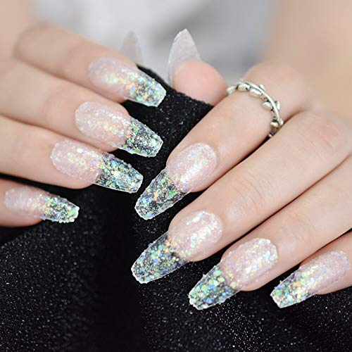 CoolNail Iridescent Paillette Press on False Nails Extra Long Ballerina Coffin Manicure Fake Nail Tip Daily Office Salon Finger Easy Wear