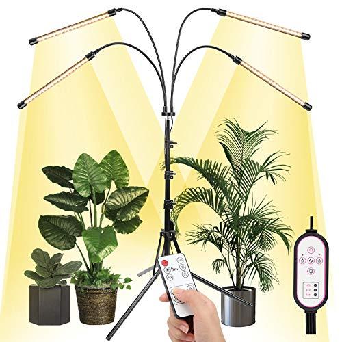 Ulikey LED Pflanzenlampe mit Ständer, 4 Köpfe Pflanzenlicht Vollspektrum, RF-Fernbedienung & Zeilengesteuerte Timing 4/8/12H, 15.7-43.3 Zoll, Pflanzenleuchte Wachstumslampe für Zimmerpflanzen