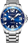 Stuhrling Original Mens Swiss Quartz Stainless Steel Sport Analog Dive Watch, Water Resistant 200 Meters, Blue/Black Dial, Aqua-Diver by Stuhrling Original