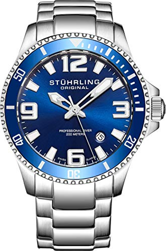 Stuhrling Original Mens Swiss Quartz Stainless Steel Sport Analog Dive Watch, Water Resistant 200 Meters, Blue/Black Dial, Aqua-Diver