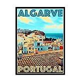 HJZBJZ Portugal Algarve Cartel Imagen telón de Fondo decoración de la Pared decoración de la Sala de Estar del hogar-50X70 CM sin Marco 1 Uds