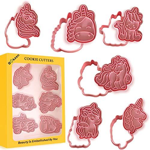 Moldes de galletas con forma de unicornio, 6 estilos 3D de dibujos animados prensables para galletas con forma de unicornio, molde estampado en relieve para cocina, repostería,...