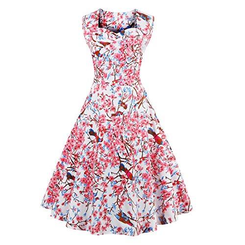 Babyonline Sommer Damen Ohne Arm Kleid Dress Vintage kleid Junger abendkleid 4XL