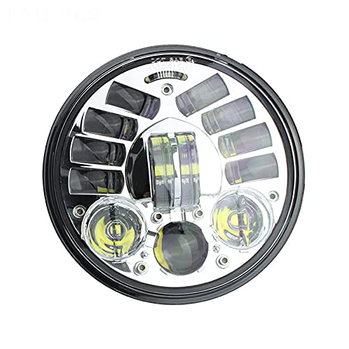 Motocicleta Redonda De 5.75'Faros Delanteros LED Adaptables Motocicleta 5 3/4 Pulgadas, 70W Luces De Conducción LED,Cromo