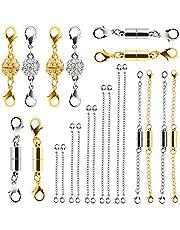 Beinhome Set di 22 chiusure magnetiche per gioielli e estensori per collane e bracciali,diverse dimensioni e stili,colore oro e argento