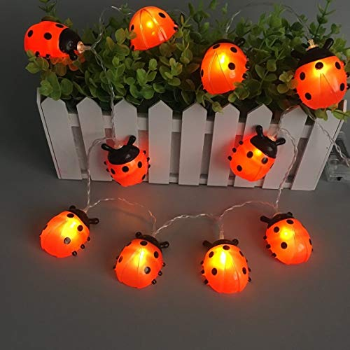 Impermeable USB / con pilas de la secuencia del LED LED mariquitas jardín al aire libre luces de la noche del día de fiesta Operación fácil ( Emitting Color : Warm White , Style : Battery operated )