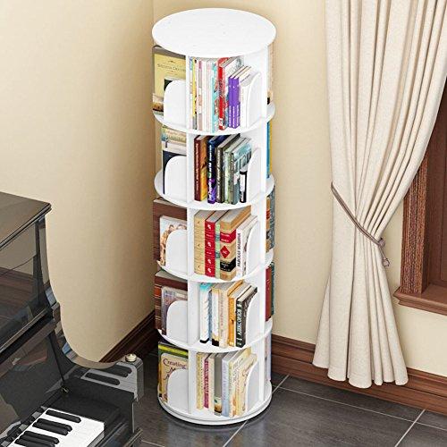 JX&BOOS Estantería,Esquina Simple Tabla Estudiante aterrizó de Creativa librería giratoria 360 ° bookrack Simple Estante los niños Modernos-D 46x46x159cm(18x18x63)