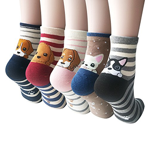 YSense Women's 5 Pairs Dogs Socks,One Size, Mix Color 5