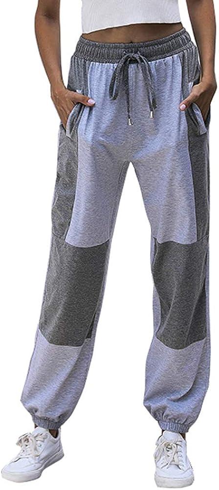GUOLEZEEV Women Mesh Stitching Jogger Pants Relax Fit Fashion Hiphop Dance Trouser