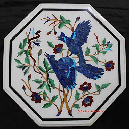 Geschenken en voorwerpen 21 inch wit marmer bank tafel top marmer salontafel Pietra Dura kunst met kostbare stenen vogels & bladeren patroon vintage ambacht