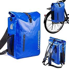 LOVEVOOK Sacoche de vélo 3 en 1 pour porte-bagages, 100 % étanche, 26 l, 20 l, réfléchissante, sac à dos pour vélo, sac…