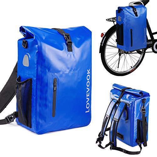LOVEVOOK Alforjas para portaequipajes de bicicleta, 100 % impermeable, reflectantes, mochila para bicicleta con compartimento para portátil extraíble para hombre y mujer, 26 l, color azul