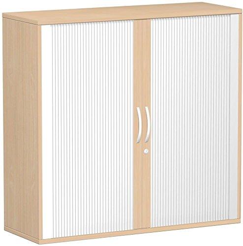 Querrollladenschrank, Rolladenschrank Aktenschrank, Büroschrank aus Holz, Oberboden 25 mm, mit Standfüßen, abschließbar, 1200x425x1182, Silber/Buche, Geramöbel