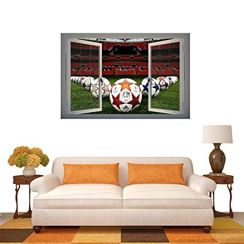 N\A Küche zu Hause selbstklebend hohe Temperatur und o 3D-Football-Feld Fenster-Ansicht entfernbare Wand-Kunst-Aufkleber, Größe: 66 x 98 x 0,3 cm groß