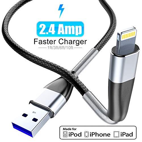 Cabepow [ Apple MFi Certified ] 2Pack 3M iPhone Ladekabel, Fortgeschritten Frühling Lightning Kabel, Schnellladung USB Ladekabel für iPhone 11/XS/XSMax/XR/X/8/8 Plus/7/7Plus/ 6s/6/6Plus/5S/5, iPad.