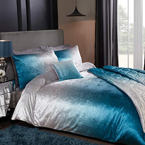Sleepdown Ombre Velvet Blue Luxury Soft Duvet Cover Quilt Bedding Set With Pillowcases - King (220cm x 230cm)