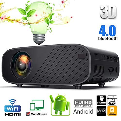 GJZhuan 1080P Nativo LED Proyector Full HD, WiFi 4K en Pantalla Múltiple Inteligente Android AI Inteligente de Control de Voz Video Proyectores, USB/SD/VGA/HDMI (Color : Black Android, Size : UK)