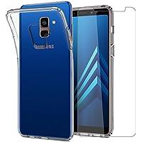 Leathlux Funda + Cristal para Samsung Galaxy A8 2018, Transparente TPU Silicona [Funda+Vidrio Templado] Protector de Pantalla 9H Dureza HD Flexible Case Cover para Samsung Galaxy A8 2018