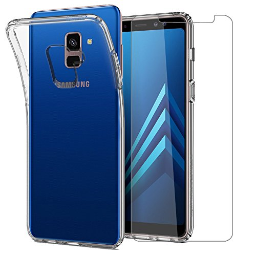 Leathlux Cover per Samsung Galaxy A8 2018 Custodia con Pellicola Vetro Temperato, Morbido Trasparente Silicone Custodie Protettivo TPU Cover per Samsung A8 2018