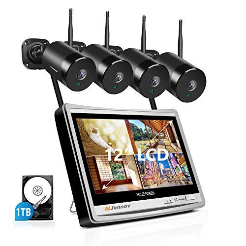 Jennov 5MP Überwachungssystem 4CH NVR System mit 4x IP 2560P Super HD Überwachungskamera 1TB Festplatte 12 Zoll Monitor 30m IR Nachtsicht Kamera Set IP66 wetterfest Sicherheitskamera APP Fernzugriff