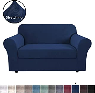 H.VERSAILTEX 2 Piece Sofa Slipcovers Stretch Furnitue Cover Lycra Spandex Jacquard Fabric Super Soft, Stretching Skid Resistant Sofa Protector - Loveseat (2 Seater) - Navy