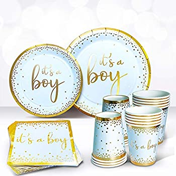 Sweet Baby Co Oh Baby Boy Shower Plates and Napkins Boy Decorations for 24 with Its a Boy Paper Plate Napkin Cups Babyshower Tableware Set Gender Reveal Party Supplies Birthday  Light Blue Gold