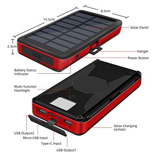 Solar Charger 26800mAh Portable Solar Power Bank With 4 Solar Panels For Outdoor, 2 Inputs 2 Outputs USB Compatible With Most Smartphones, Tablets, etc, Water-Resistant Charger Pack with LED Flashlight